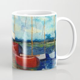 """Artistic Impression of Claude Monet's """"Red Boats at Argenteuil"""" Coffee Mug"""