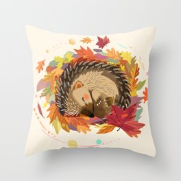 Hedgehog in Autumn Leaves Throw Pillow