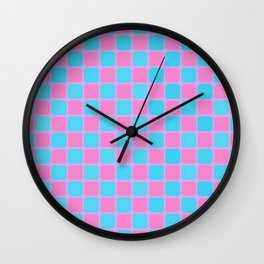 Checker Game:  Pink and Blue Wall Clock