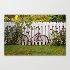 Bike with Fence & Flowers Canvas Print