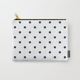 Navy Blue & White Polka Dots Carry-All Pouch