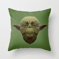 low poly Throw Pillows featuring Yoda Low Poly by organicdreams
