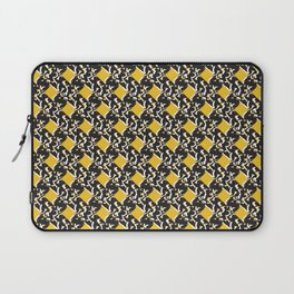 Yellow and Black Trendy Abstract Squared Shapes Laptop Sleeve