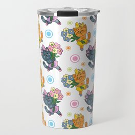 Cat with a bunch of flowers Travel Mug