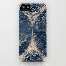 Antique World Map Gold Navy Blue Library iPhone Case