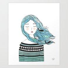Whales in my hair Art Print