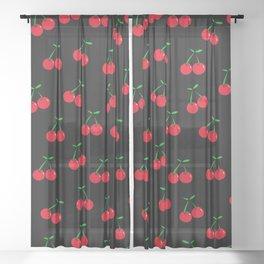 Cherries 2 (on black) Sheer Curtain