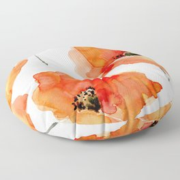Modern hand painted orange watercolor poppies pattern Floor Pillow
