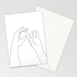 Hands line drawing illustration - Darcy Stationery Cards