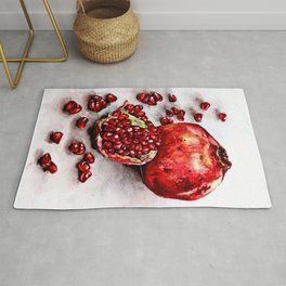 Red pomegranate watercolor art painting Rug
