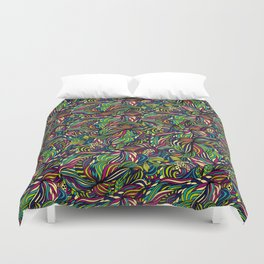 Abstract geometric waves pattern Bright colors Duvet Cover