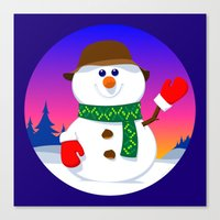 snowman Canvas Prints featuring SnowMan by tuditees