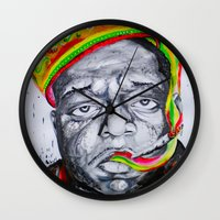 biggie smalls Wall Clocks featuring Biggie Smalls by Liam Reading