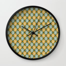 Retro Texture Blue Tan Argyle Wall Clock