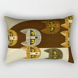 Cat Pattern Japanese, Cat, Cubism, Woodblock Print, Cherry Blossom, Midcentury, Modern Rectangular Pillow