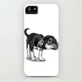Cute cautious puppy wagging it's tail. iPhone Case
