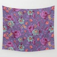 romantic Wall Tapestries featuring Hopeless Romantic - lavender version by Lidija Paradinović Nagulov - Celandine