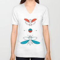 insects V-neck T-shirts featuring Two Insects II by Ukko