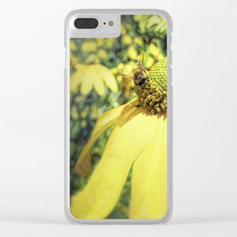 Bees on Yellow Flower Clear iPhone Case