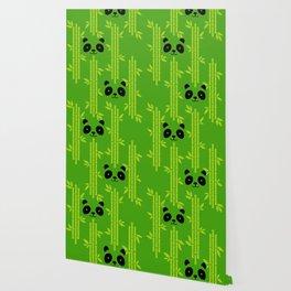 Evergreen Bamboos with Panda Wallpaper