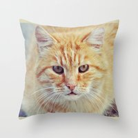 ginger Throw Pillows featuring Ginger by LindaMarieAnson