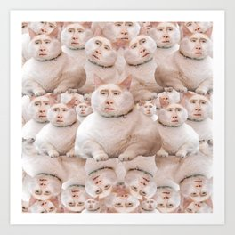 cage cat collage Art Print