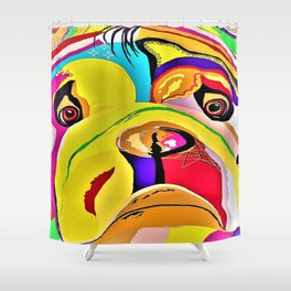 Bulldog Close-up Shower Curtain