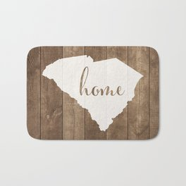 South Carolina is Home - White on Wood Bath Mat