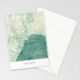 Malaga Map Blue Vintage Stationery Cards