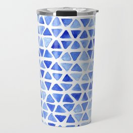 Triangle Watercolor Seamless repeating Pattern - Blue Travel Mug
