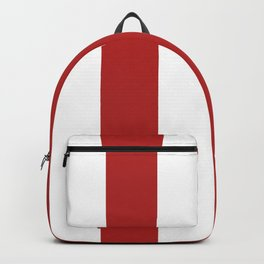 Wide Vertical Stripes - White and Firebrick Red Backpack