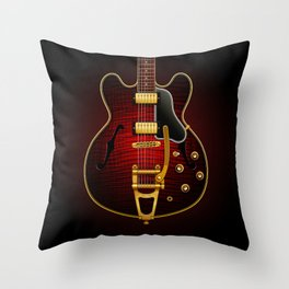 Electric Guitar ES 335 Flamed Maple Throw Pillow