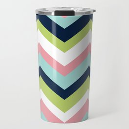 Chevron Pattern Navy Pink Aqua Lime Travel Mug