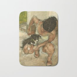 Girl Playing with Puppy Dog Impressionist Oil Painting Bath Mat