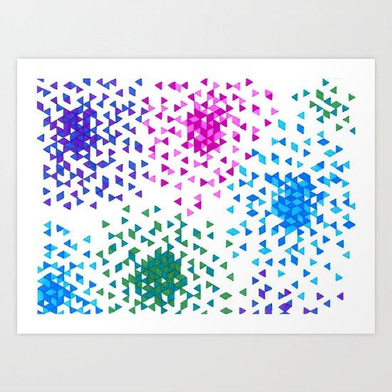 Pixel Fireworks Art Print