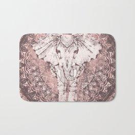Bohemian, Elephant, Mandala, Blush, Moon Bath Mat