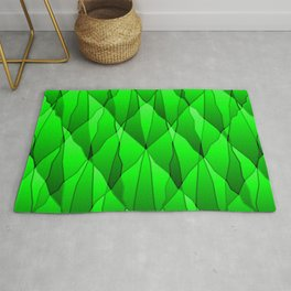 Mirrored triangular shards of curved green intersecting ribbons and vertical lines. Rug
