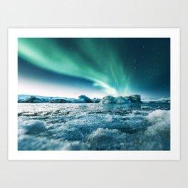 aurora borealis at jakursarlon Art Print