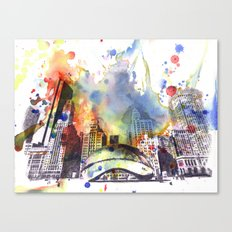 Chicago Bean Cityscape Watercolor Painting Canvas Print