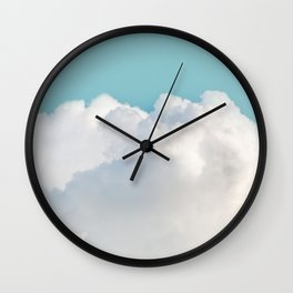 Cotton Clouds Teal Sky Wall Clock