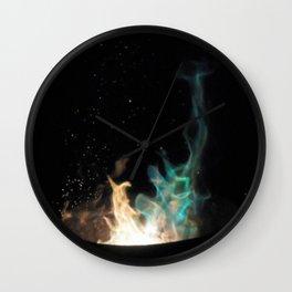 Blue Flames /// Wall Clock