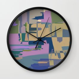 Pale Existence - Abstract, pastel purple, blue, mustard and green painting Wall Clock