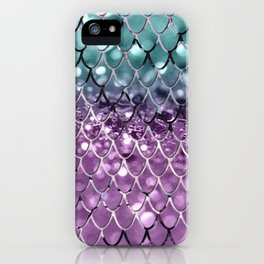 Mermaid Scales on Aqua Purple MERMAID Girls Glitter #2 #shiny #decor #art #society6 iPhone Case
