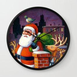 Santa's Tight Squeeze Wall Clock