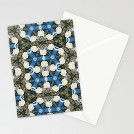 White Roses Baby's Breath Blue Satin Ribbons Mandala Kaleidoscope Abstract Stationery Cards