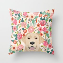 Labrador Retriever yellow lab floral pattern cute florals dog breed pure breed dog lover gifts Throw Pillow
