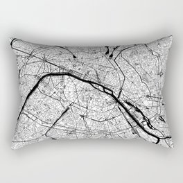 Paris Black and White Map Rectangular Pillow