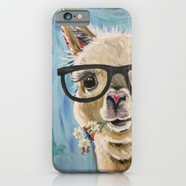 Cute Alpaca With Glasses iPhone Case