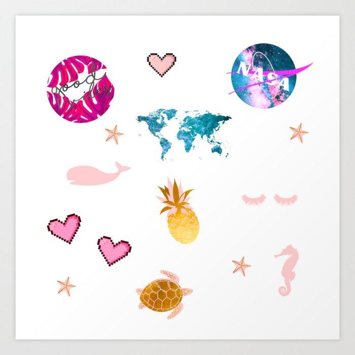 Trendy Summer Sticker Pack - NASA, good vibes, sea turtles, world map  outline, ocean waves Art Print by cadinera