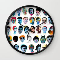 talking heads Wall Clocks featuring Heads by Alvaro Tapia Hidalgo